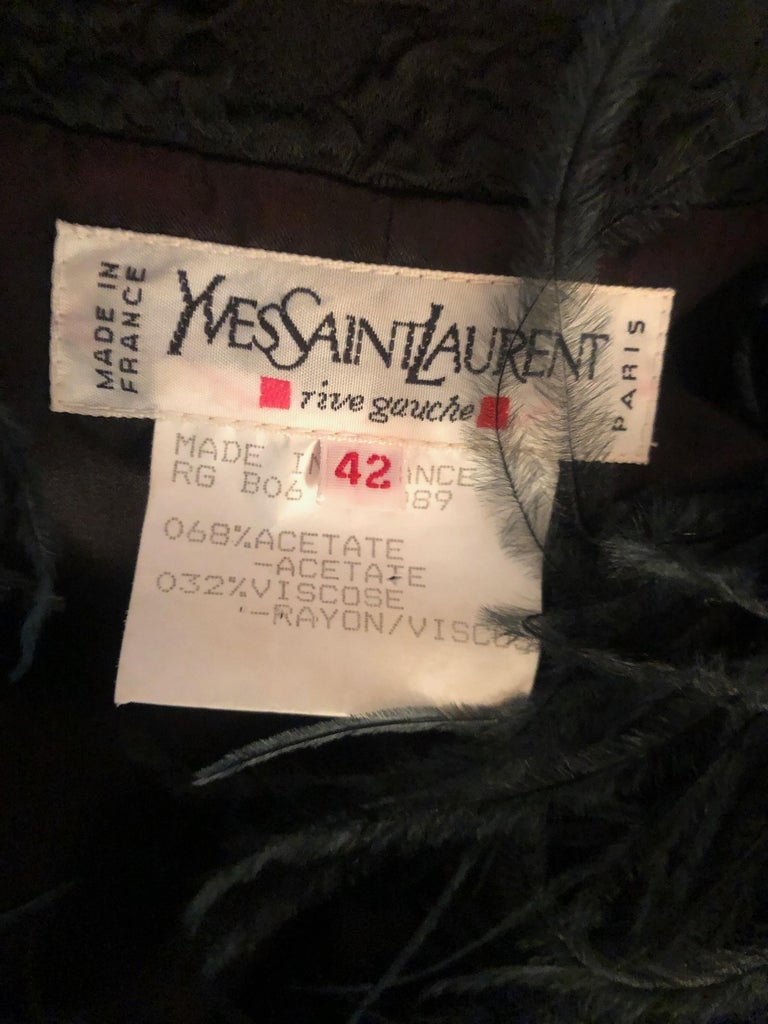 Yves Saint Laurent Textured Vintage 1980's Coat with Ostrich Feather Collar For Sale 5