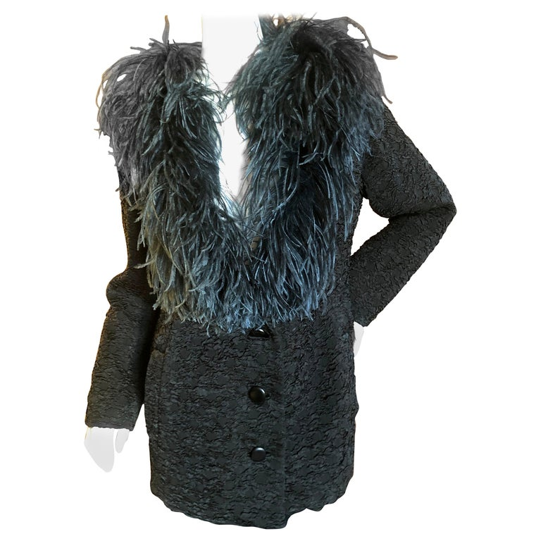 Yves Saint Laurent Textured Vintage 1980's Coat with Ostrich Feather Collar For Sale