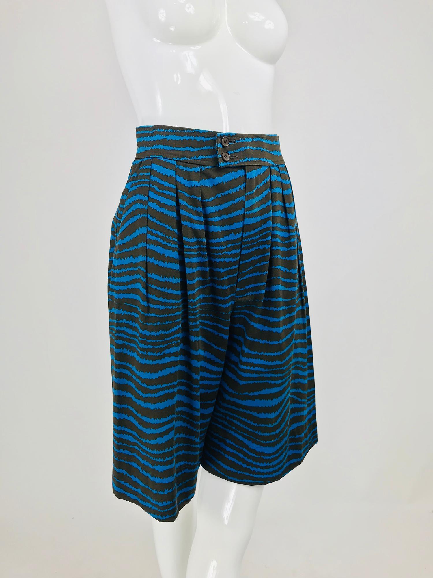 8b17bf302b5 Yves Saint Laurent tiger stripe blue and brown high waist full leg shorts  1980s For Sale at 1stdibs
