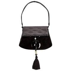 Yves Saint Laurent Tom Ford Black Suede Patent Leather Jade Tassel Bag, 2004