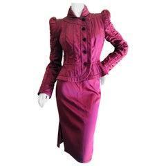 Yves Saint Laurent Tom Ford Fall 2004 Burgundy Silk Pagoda Shoulder Skirt Suit