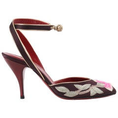 "YVES SAINT LAURENT Tom Ford Fall 2004 ""Opium"" Lotus Floral Embroidered Heels 39"
