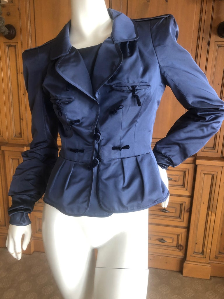 f7deb69b021 Yves Saint Laurent Tom Ford Fall 2004 Pagoda Shoulder Jacket Teal Blue  Jacket is marked size
