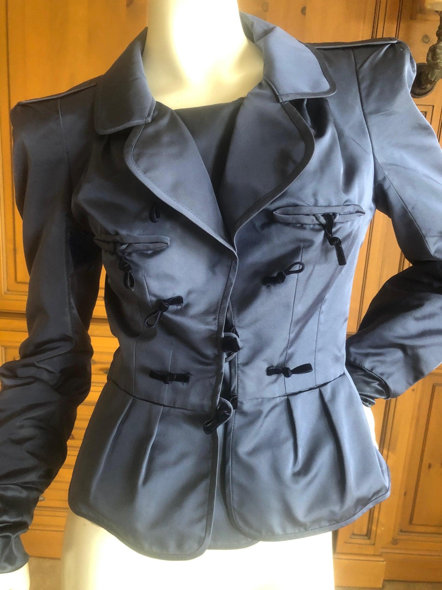 f9eec98dddb Yves Saint Laurent Tom Ford Fall 2004 Teal Blue Silk Pagoda Shoulder Jacket  For Sale at 1stdibs