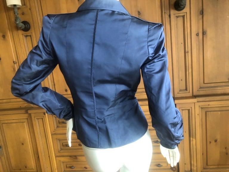 63de0914ab2 Yves Saint Laurent Tom Ford Fall 2004 Teal Blue Silk Pagoda Shoulder Jacket  For Sale 1