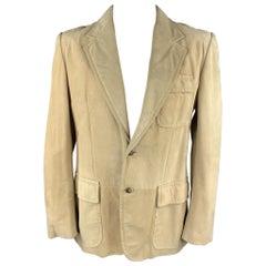 YVES SAINT LAURENT Tom Ford Rive Gauche Size 42 Natural Suede Notch Lapel Jacket