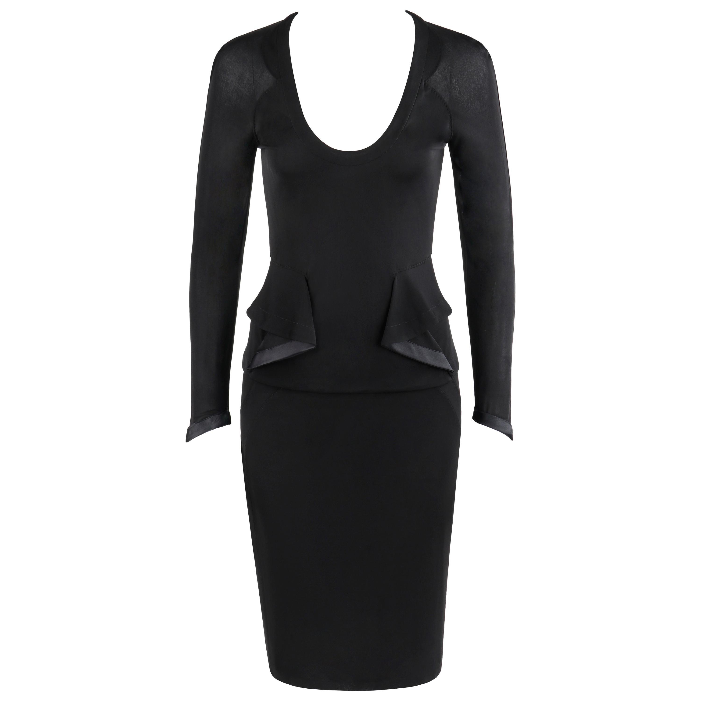 YVES SAINT LAURENT Tom Ford S/S 2003 2 Pc Black Top Skirt Dress Set YSL