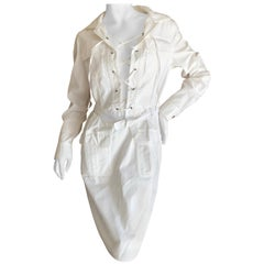 Yves Saint Laurent Tom Ford White Cotton Lace Up Safari Dress