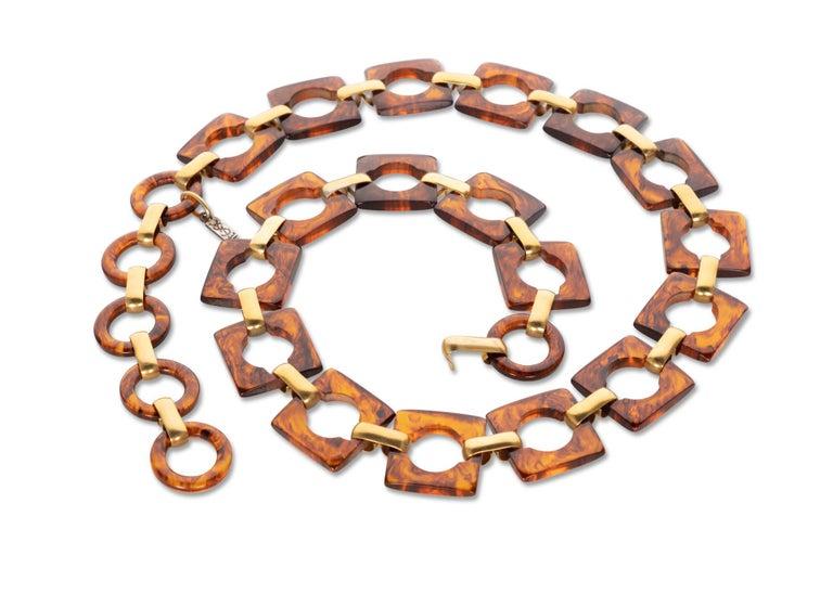 Brown Yves Saint Laurent Tortoise Lucite Belt Necklace YSL, 1970s For Sale