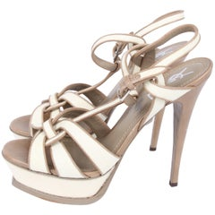 Yves Saint Laurent Tribute Sandalette - off-white canvas/taupe leather