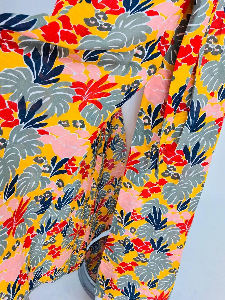 Yves Saint Laurent tropical print linen maxi skirt, 1980s For Sale 5