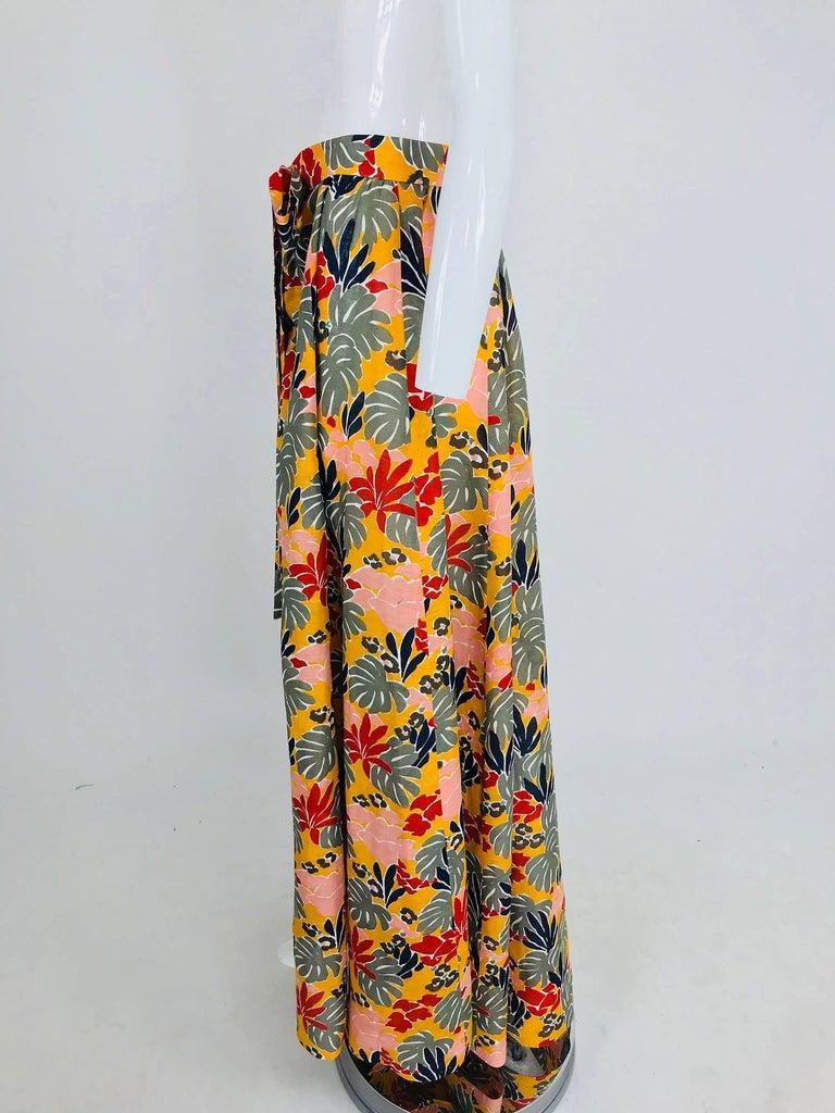Women's Yves Saint Laurent tropical print linen maxi skirt, 1980s For Sale