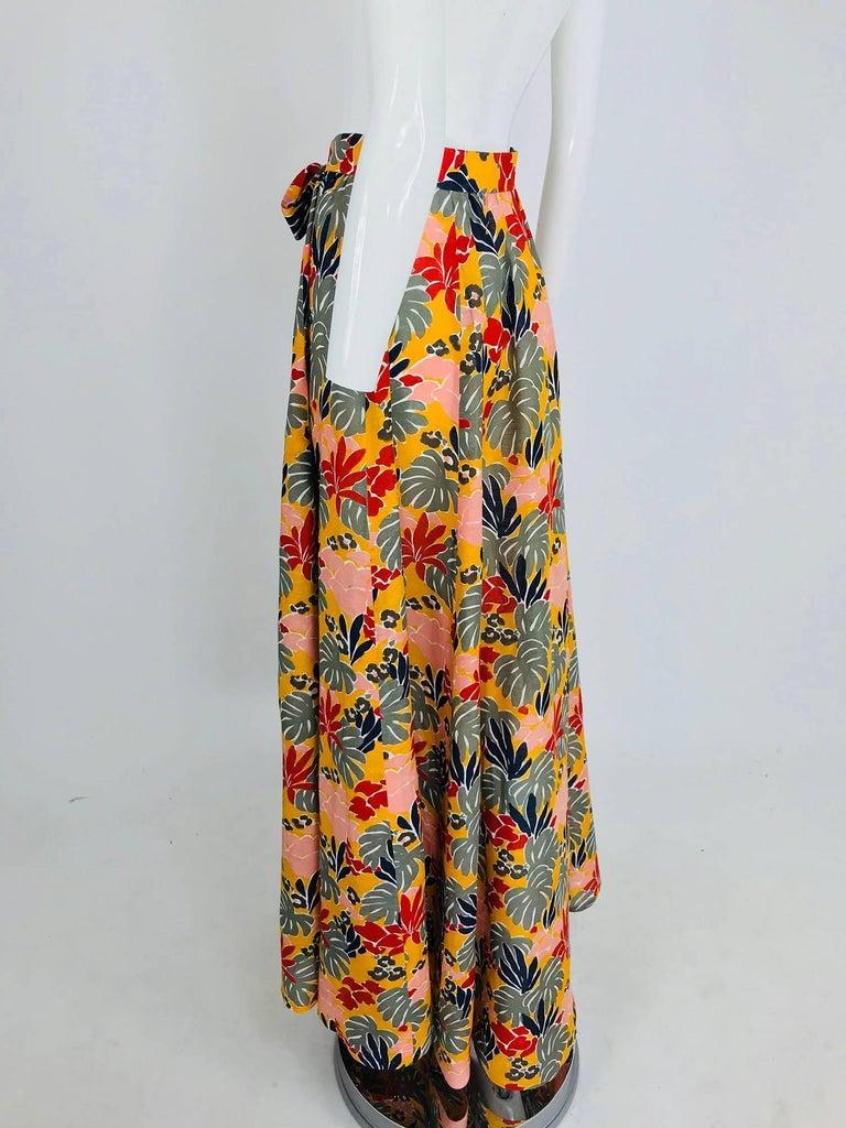 Yves Saint Laurent tropical print linen maxi skirt, 1980s For Sale 1