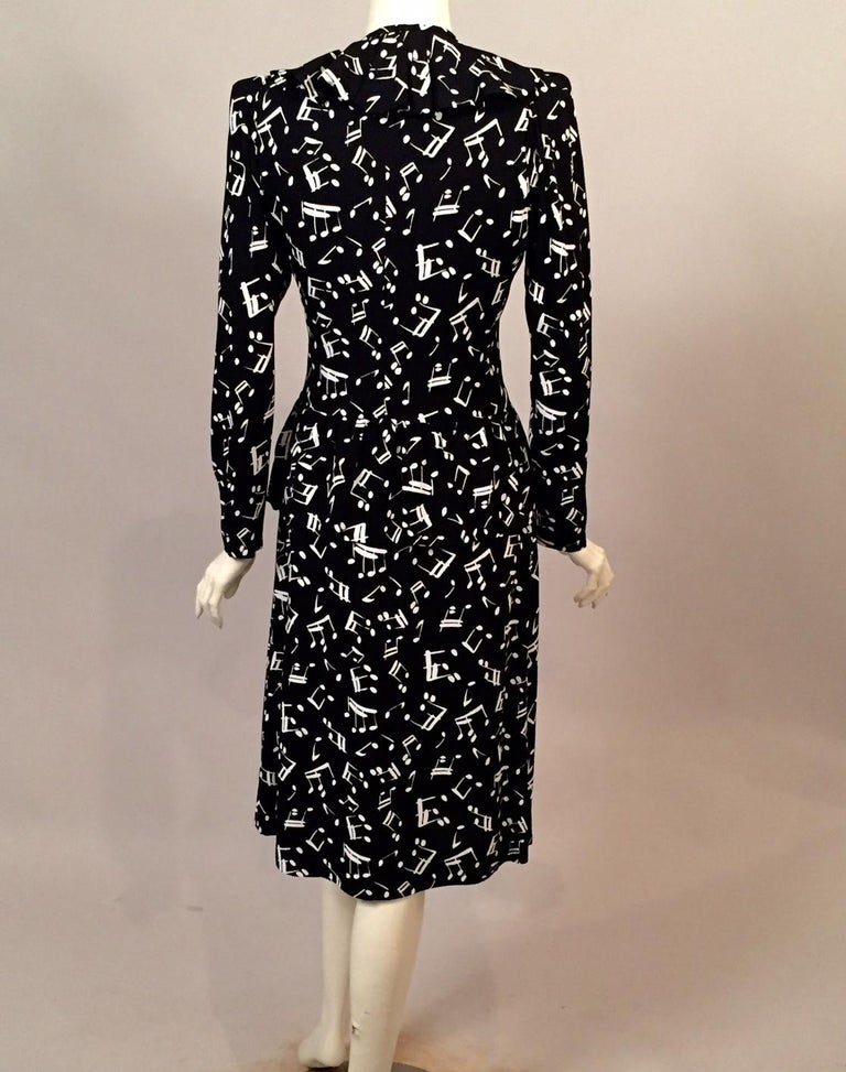 97641a056ac Yves Saint Laurent Two Piece Dress Music Notes Black and White Print In  Excellent Condition For