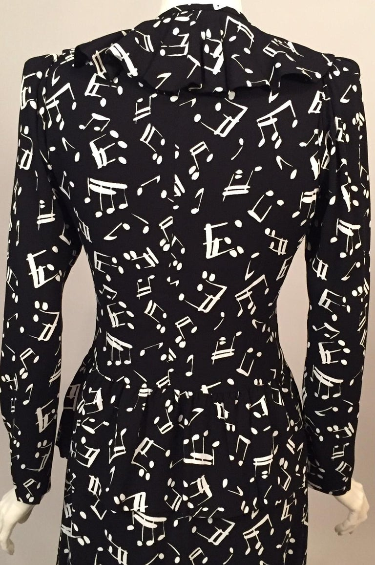 9d56b67d938 Yves Saint Laurent Two Piece Dress Music Notes Black and White Print For  Sale 4