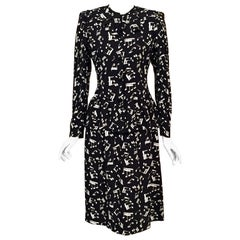 Yves Saint Laurent Two Piece Dress Music Notes Black and White Print