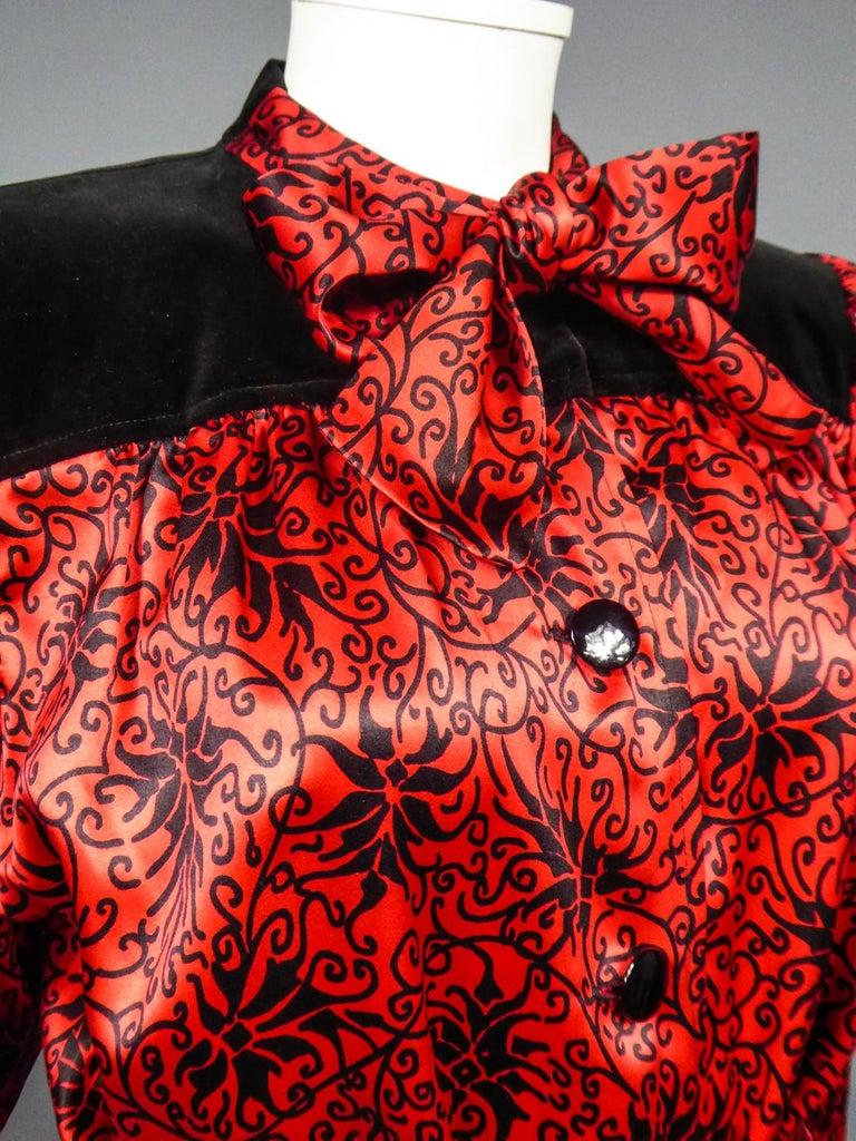 Yves Saint Laurent VariationBlouse Dress in Printed SatinCirca 1990 For Sale 6