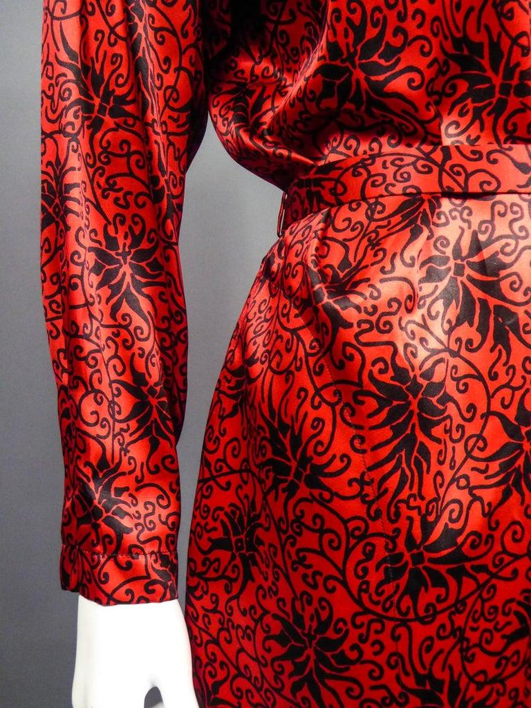 Yves Saint Laurent VariationBlouse Dress in Printed SatinCirca 1990 For Sale 7