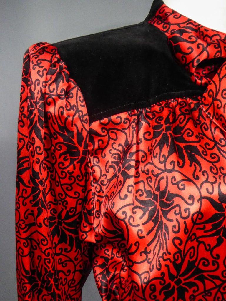 Yves Saint Laurent VariationBlouse Dress in Printed SatinCirca 1990 For Sale 8