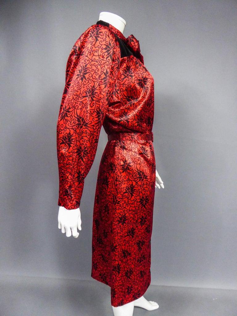 Yves Saint Laurent VariationBlouse Dress in Printed SatinCirca 1990 For Sale 9