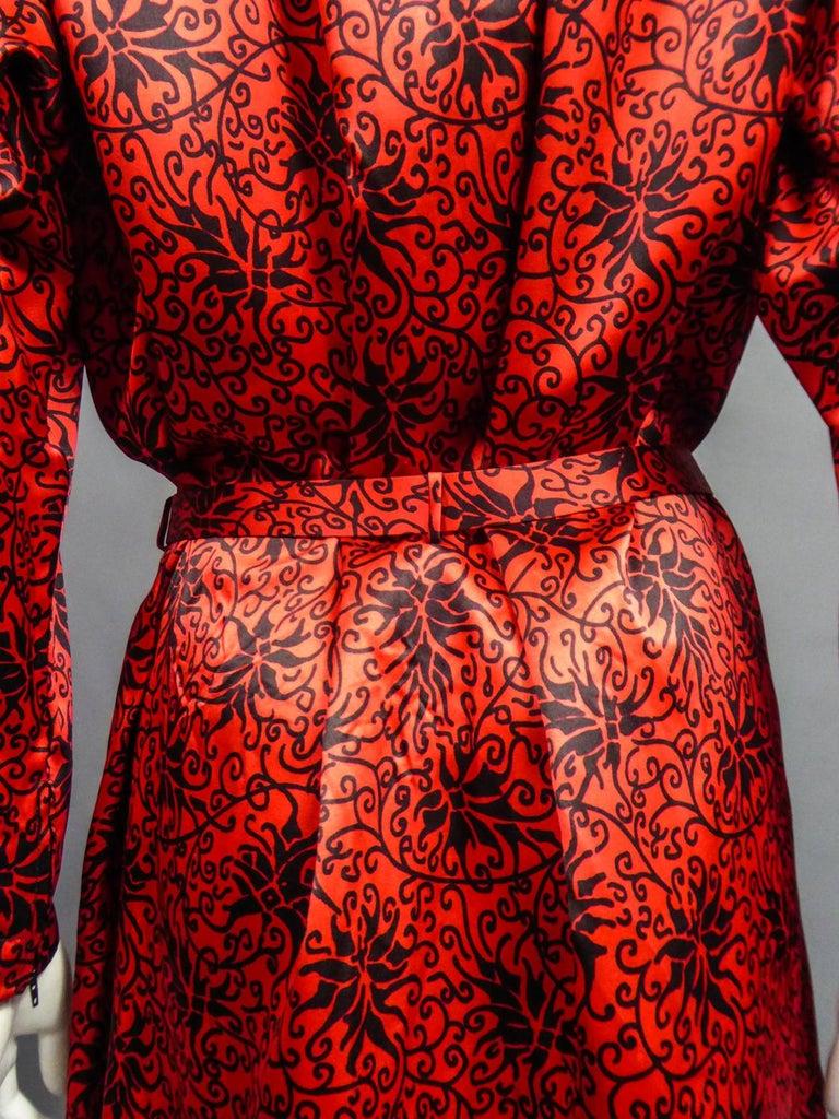 Yves Saint Laurent VariationBlouse Dress in Printed SatinCirca 1990 For Sale 12