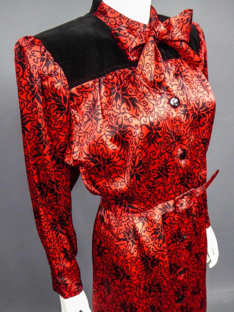 Yves Saint Laurent VariationBlouse Dress in Printed SatinCirca 1990 For Sale 13