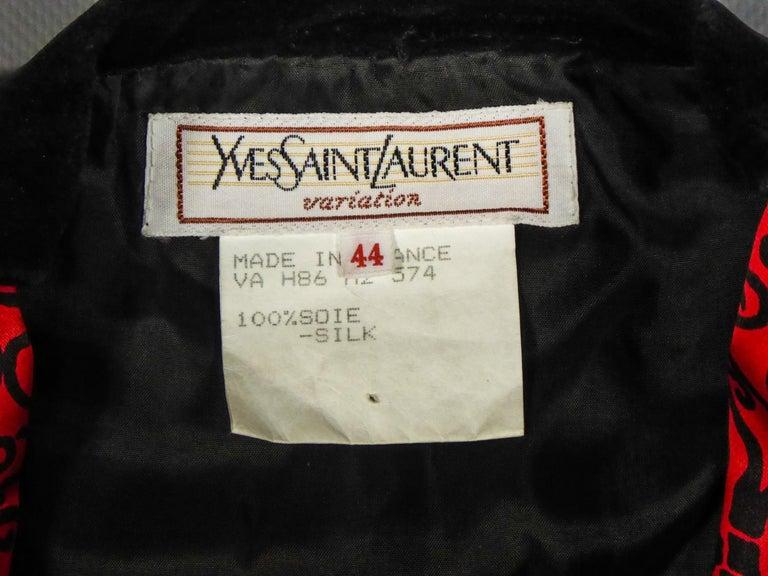 Red Yves Saint Laurent VariationBlouse Dress in Printed SatinCirca 1990 For Sale