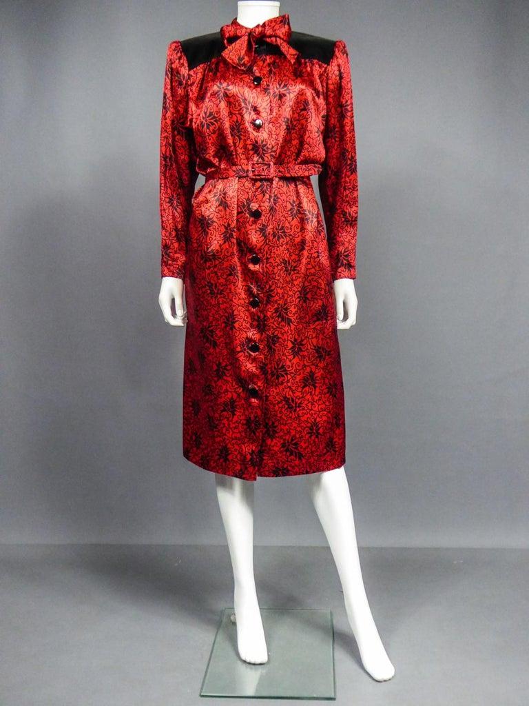 Women's Yves Saint Laurent VariationBlouse Dress in Printed SatinCirca 1990 For Sale