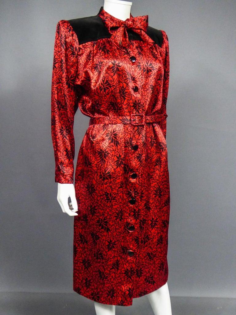 Yves Saint Laurent VariationBlouse Dress in Printed SatinCirca 1990 For Sale 4
