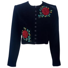 Yves Saint Laurent Velvet Cropped Jacket with Beaded and Embroidered Detail