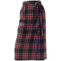 Yves Saint Laurent Vintage 1970s Blue & Red Plaid Faux Wrap Skirt W Ribbon Trim