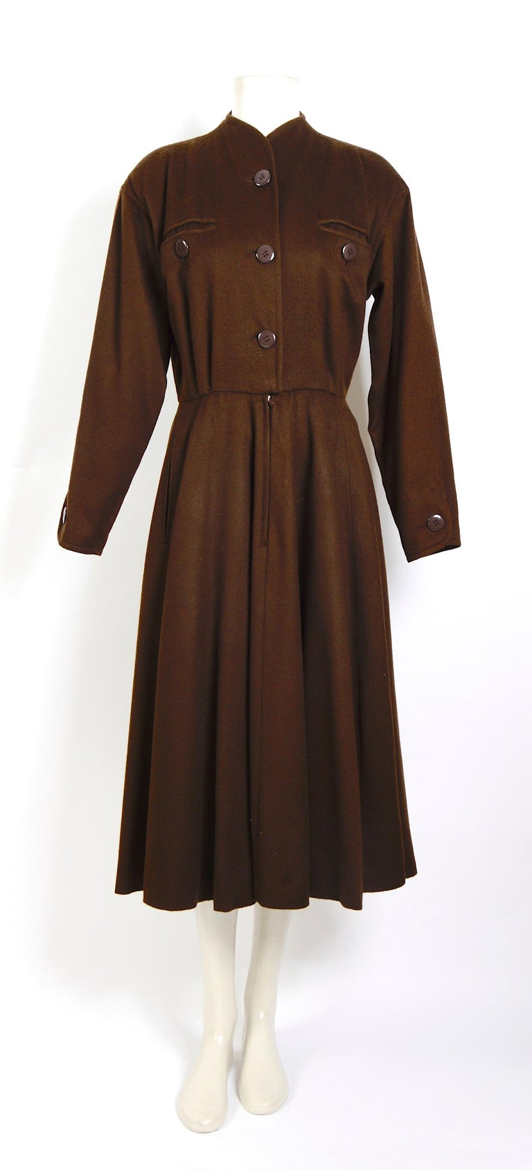 Black Yves Saint Laurent vintage 1970s brown wool winter dress For Sale