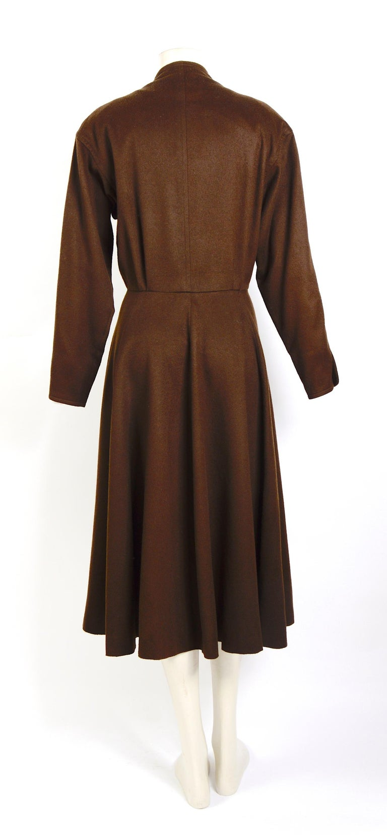 Women's Yves Saint Laurent vintage 1970s brown wool winter dress For Sale