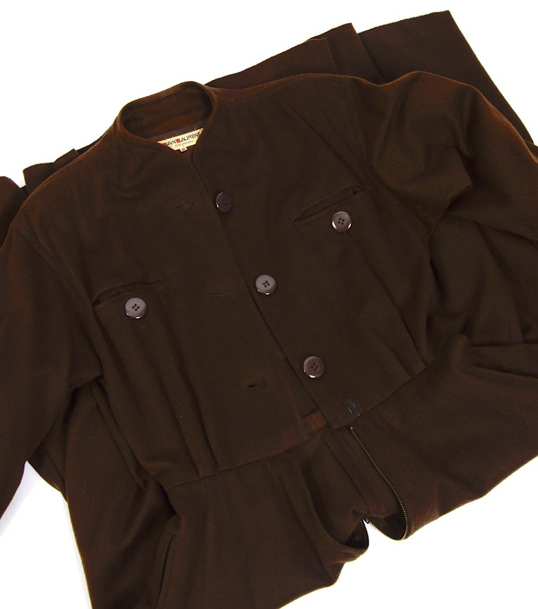Yves Saint Laurent vintage 1970s brown wool winter dress For Sale 1