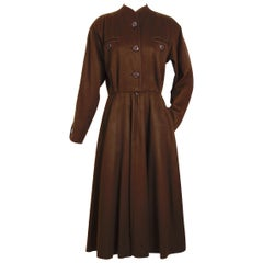 Yves Saint Laurent vintage 1970s brown wool winter dress