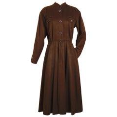 Yves Saint Laurent vintage 1970s brown wool winter dress