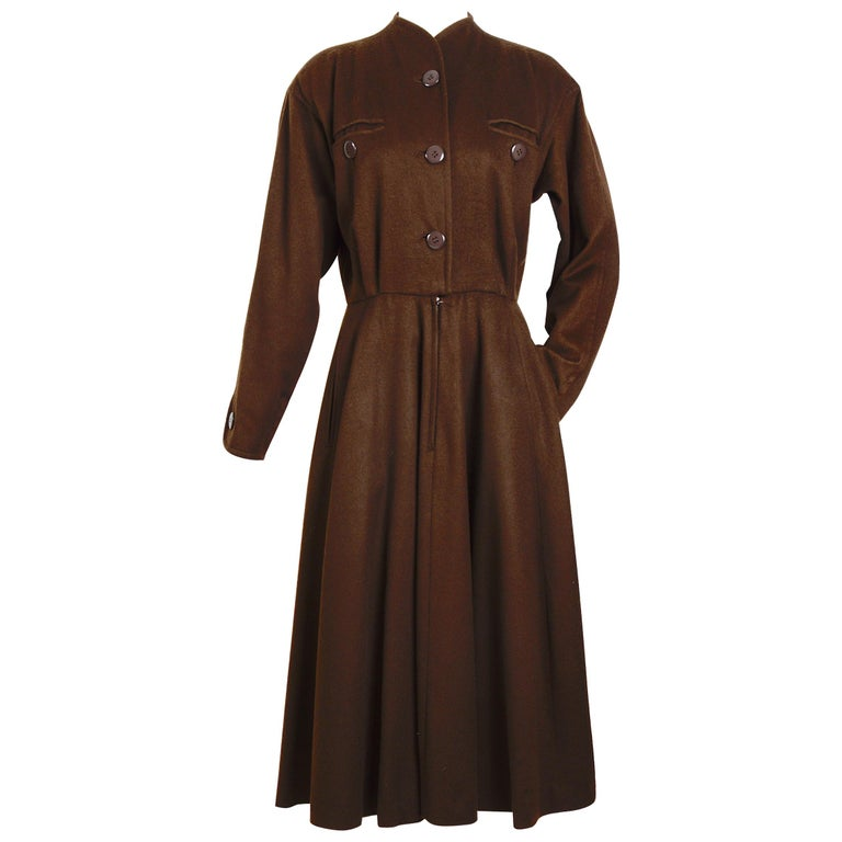 Yves Saint Laurent vintage 1970s brown wool winter dress For Sale
