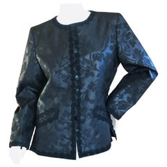 Yves Saint Laurent Vintage 1980's Black Brocade Jacket with Soutache Piping
