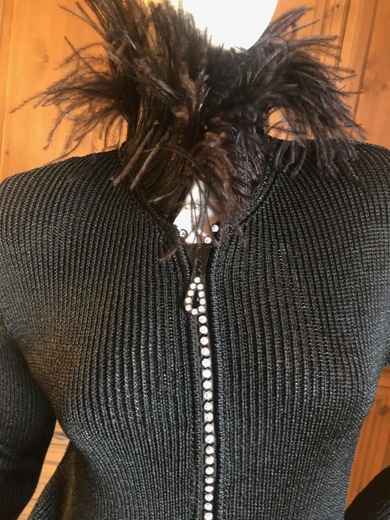 Yves Saint Laurent Vintage 1980's Black Crystal Zip Front Sweater with Feathers Size 42 Bust 40