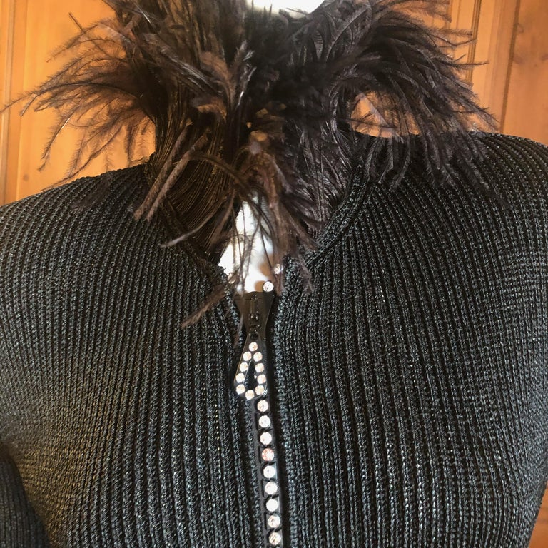 Yves Saint Laurent Vintage 1980's Black Crystal Zip Front Sweater with Feathers For Sale 3