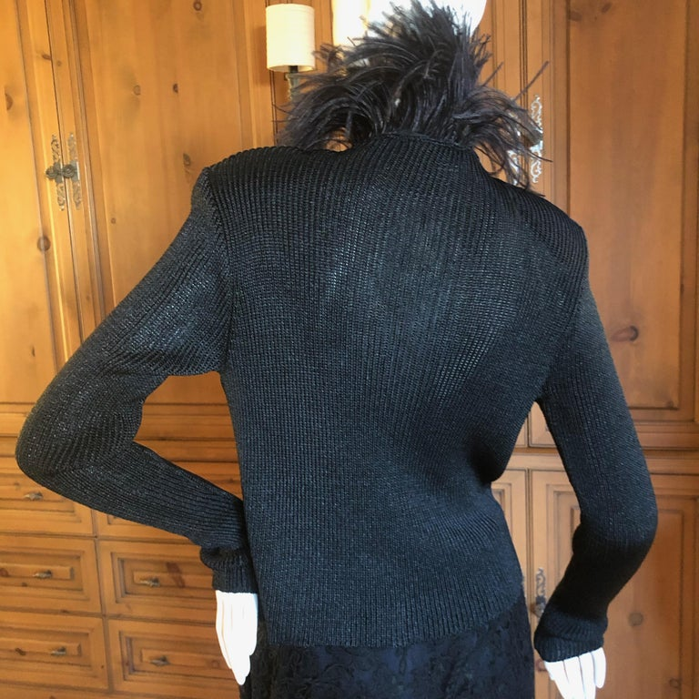 Yves Saint Laurent Vintage 1980's Black Crystal Zip Front Sweater with Feathers For Sale 4