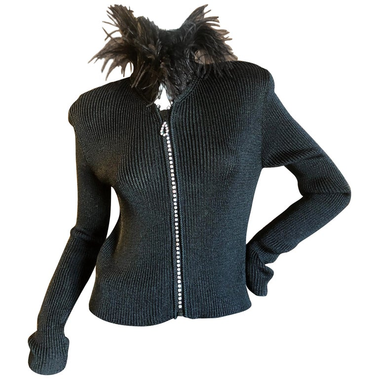 Yves Saint Laurent Vintage 1980's Black Crystal Zip Front Sweater with Feathers For Sale