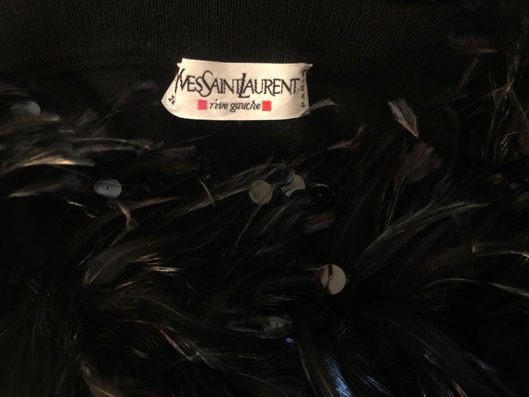 Yves Saint Laurent Vintage 1980's Coq Feather & Sequin Off the Shoulder Sweater For Sale 6