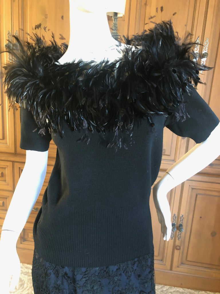 Yves Saint Laurent Vintage 1980's Coq Feather & Sequin Off the Shoulder Sweater In Excellent Condition For Sale In San Francisco, CA