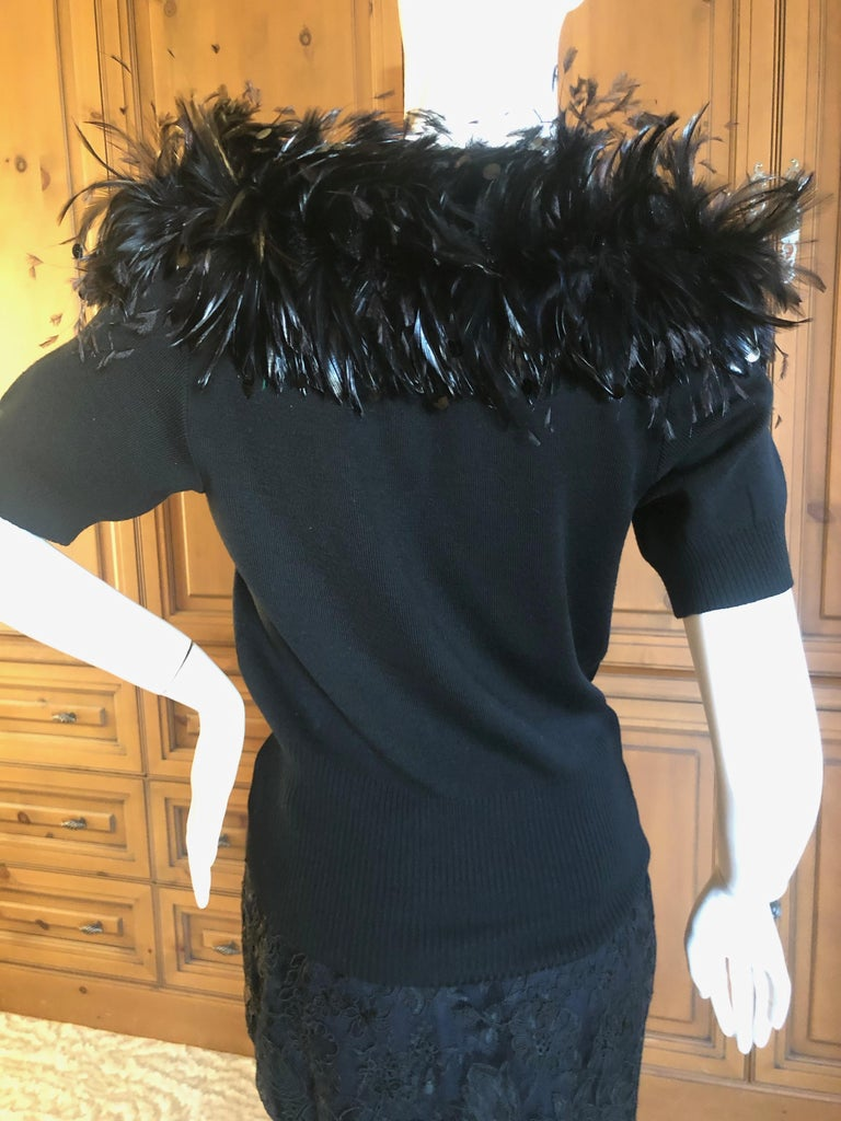 Yves Saint Laurent Vintage 1980's Coq Feather & Sequin Off the Shoulder Sweater For Sale 4