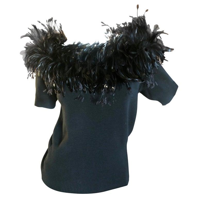 Yves Saint Laurent Vintage 1980's Coq Feather & Sequin Off the Shoulder Sweater For Sale