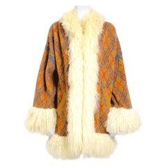Yves Saint Laurent vintage 1980s mongolian lamb fur trimmed knit cardigan