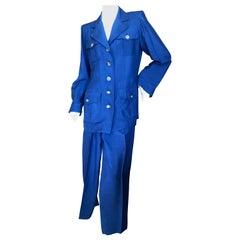 Yves Saint Laurent Vintage 1980's Royal Blue Dupioni Silk Safari Suit