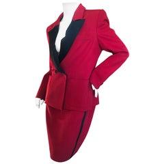"Yves Saint Laurent Vintage 1980's Strong Shoulder Red ""le Smoking"" Tuxedo Suit"