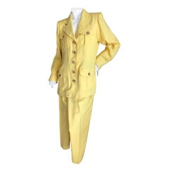 Yves Saint Laurent Vintage 1980's Yellow Dupioni Silk Safari Suit